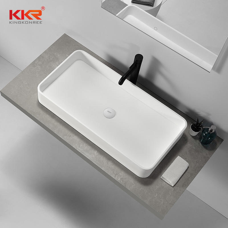 High Quality Rectangular Above Counter Top Bathroom Wash Basin