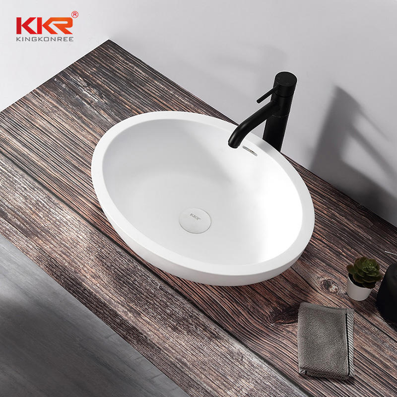 Luxury Oval White Solid Surface Counter Top Wash Basin
