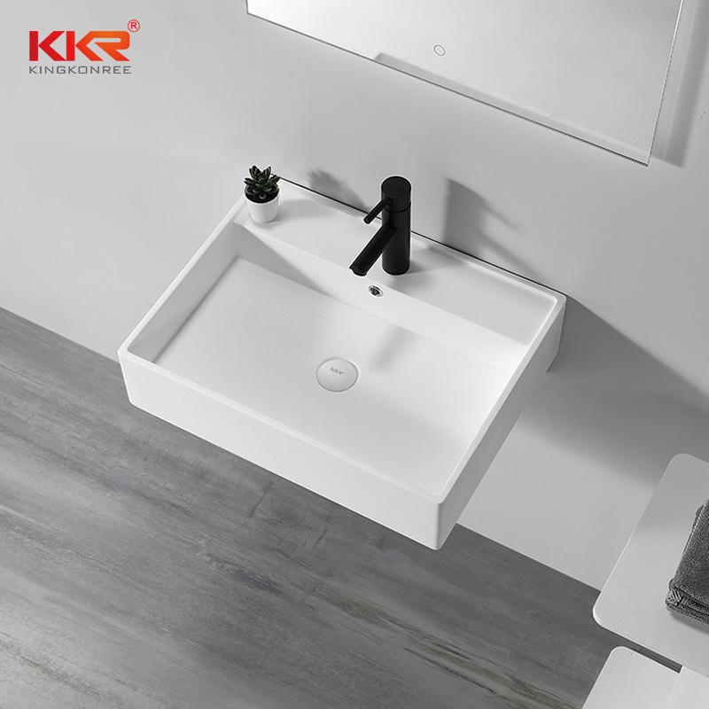 Unique Bathroom Sinks Wall Mounted Wash Basin Solid Surface Wall Hung Hand Wash Basin