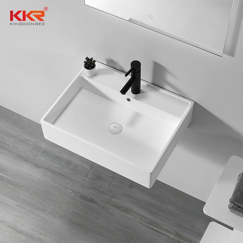 Unique Bathroom Sinks Wall Mounted Wash Basin Solid Surface Wall Hung Hand Wash Basin