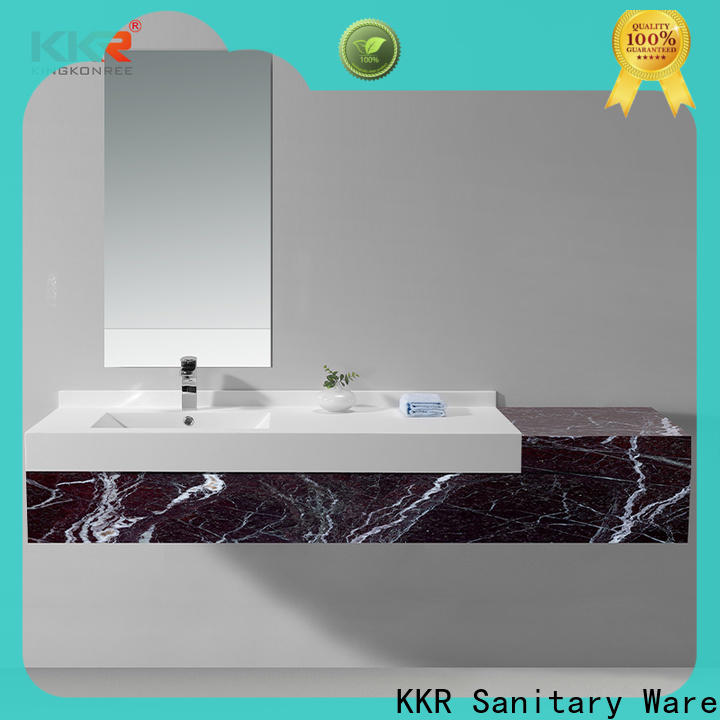KingKonree solid surface wash basin with cabinet online customized for motel