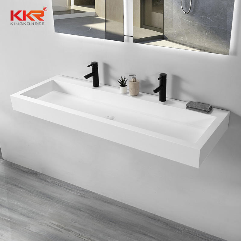 Artificial Stone Wall Vanity Basin White Bathroom Sink Hand Washbasin