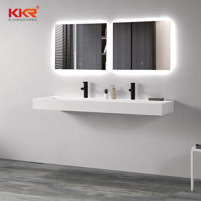 Artificial Stone Wall Vanity Basin White Bathroom Sink Hand Washbasin