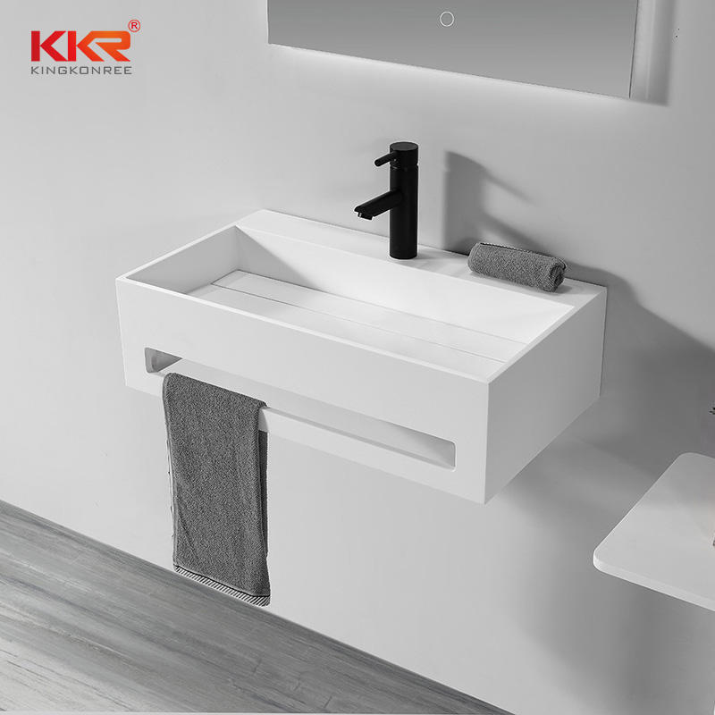 White Marble Solid Surface Bathroom Sink Stone Washbasins With Towel Rail