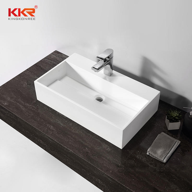White Rectangle Solid Surface Above Coutner Wash Basins