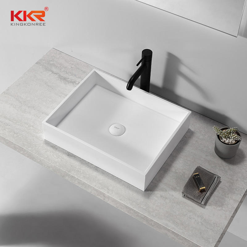 Acrylic Solid Surface Bathroom Toilet Above Counter Wash Basin KKR-1112