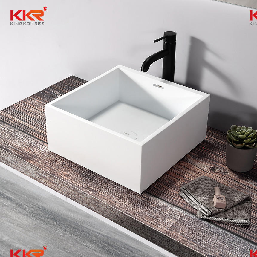 Artificial Stone Polymer Resin Washbasin Solid Surface Hand Wash Basin KKR-1111