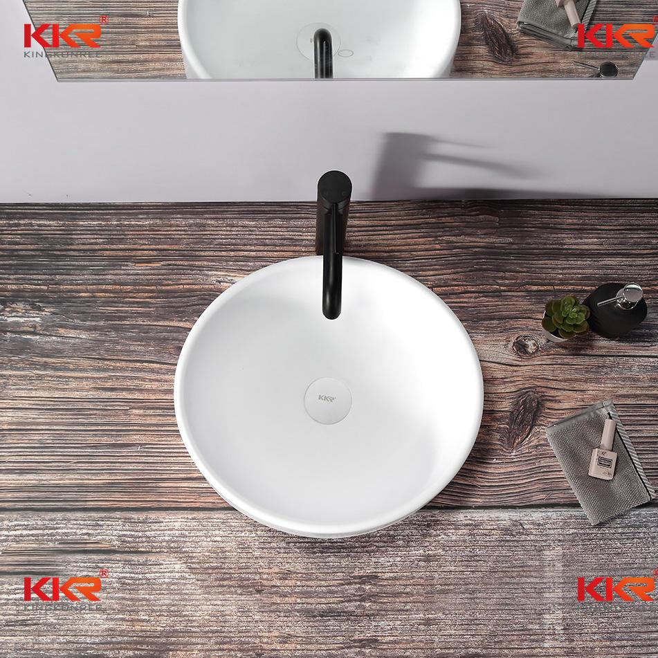 Mini Round Bathroom Sink Pure White Solid Surface Sink Wash Basin KKR-1110