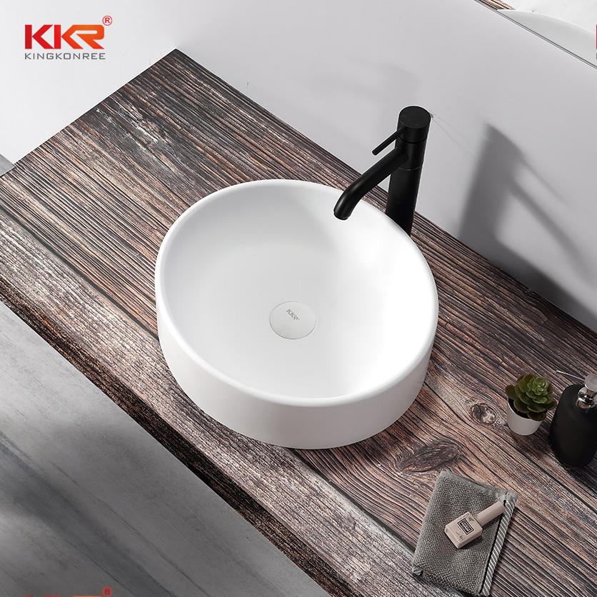 Mini Round Bathroom Sink Pure White Solid Surface Sink Wash Basin KKR-1110