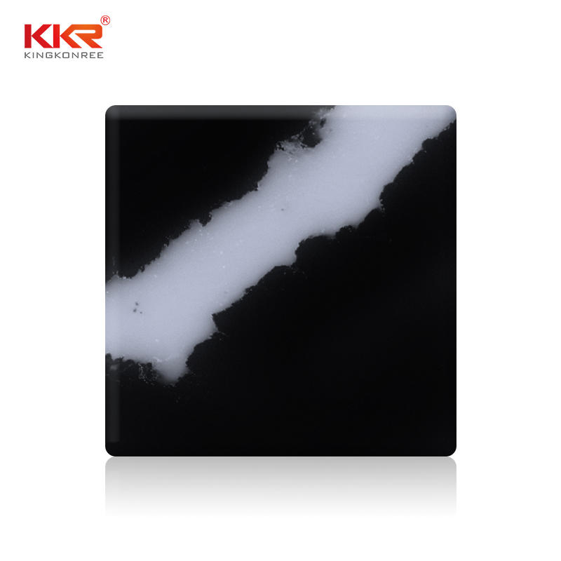 Black Marble White Texture Artificial Marble Solid Surface Sheets KKR-M071