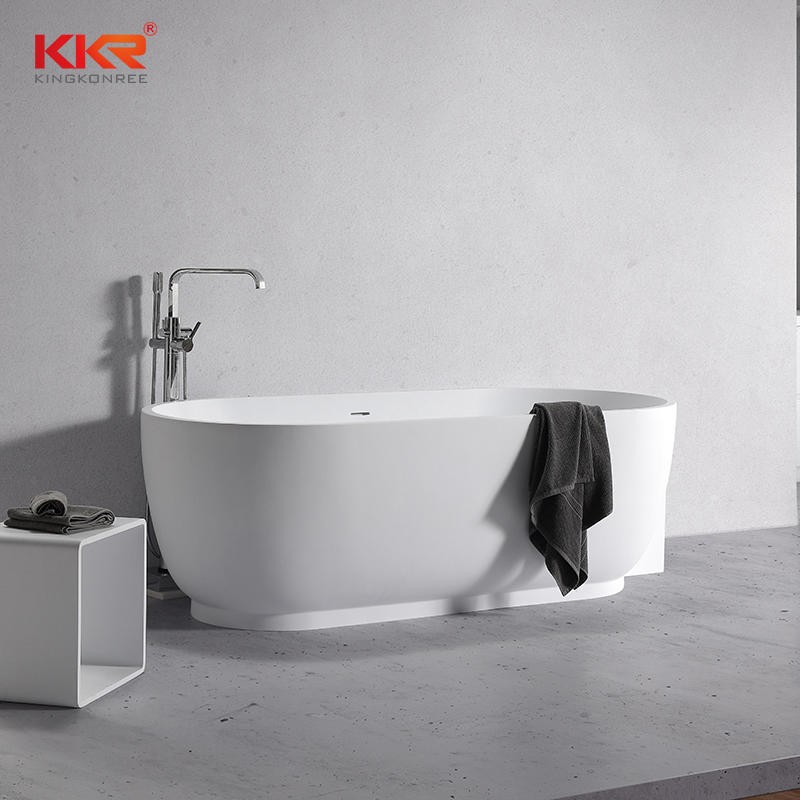 White Marble Acyrlic Solid Surface Bathtub Against The Wall KKR-B106