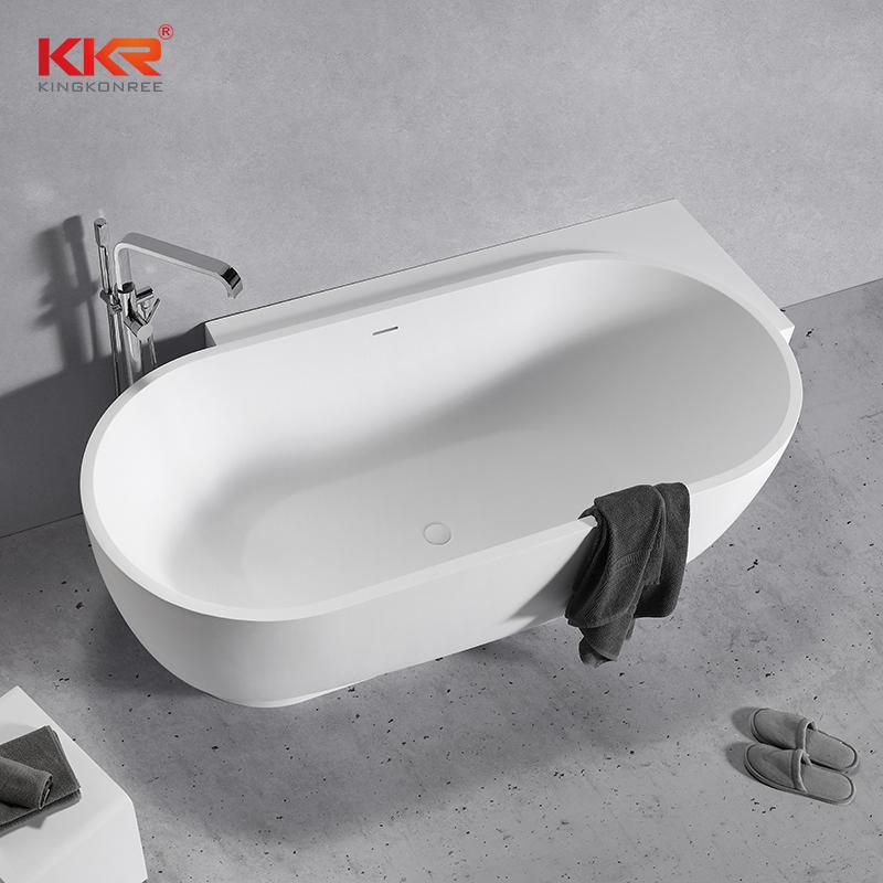White Marble Acyrlic Solid Surface Bathtub Against The Wall KKR-B106