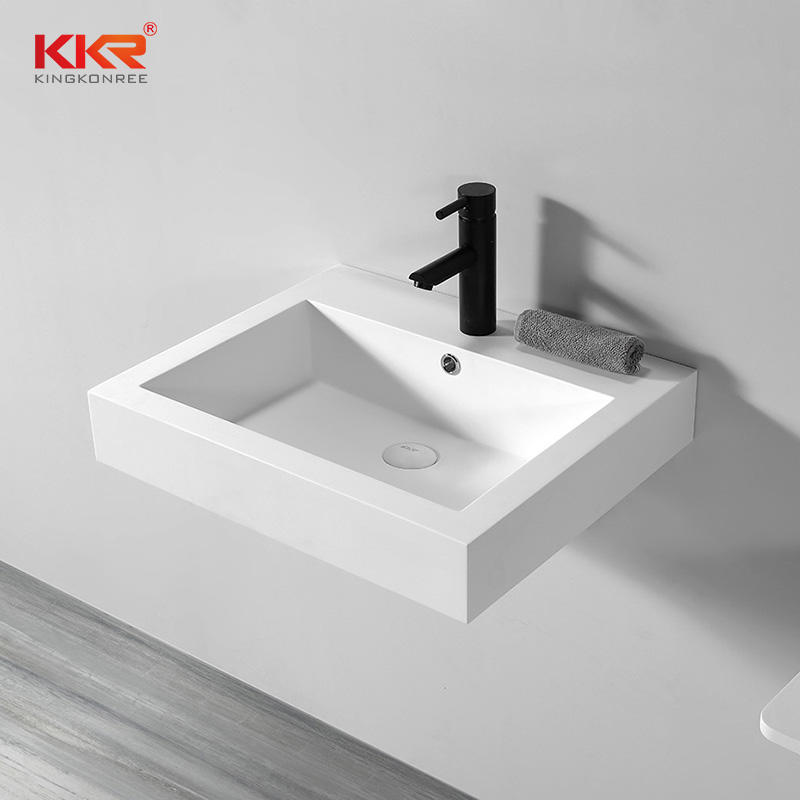 Custom Made Bathroom Wall Hung Small Acrylic Solid Surface Hand Wash Basin for Project KKR-1604