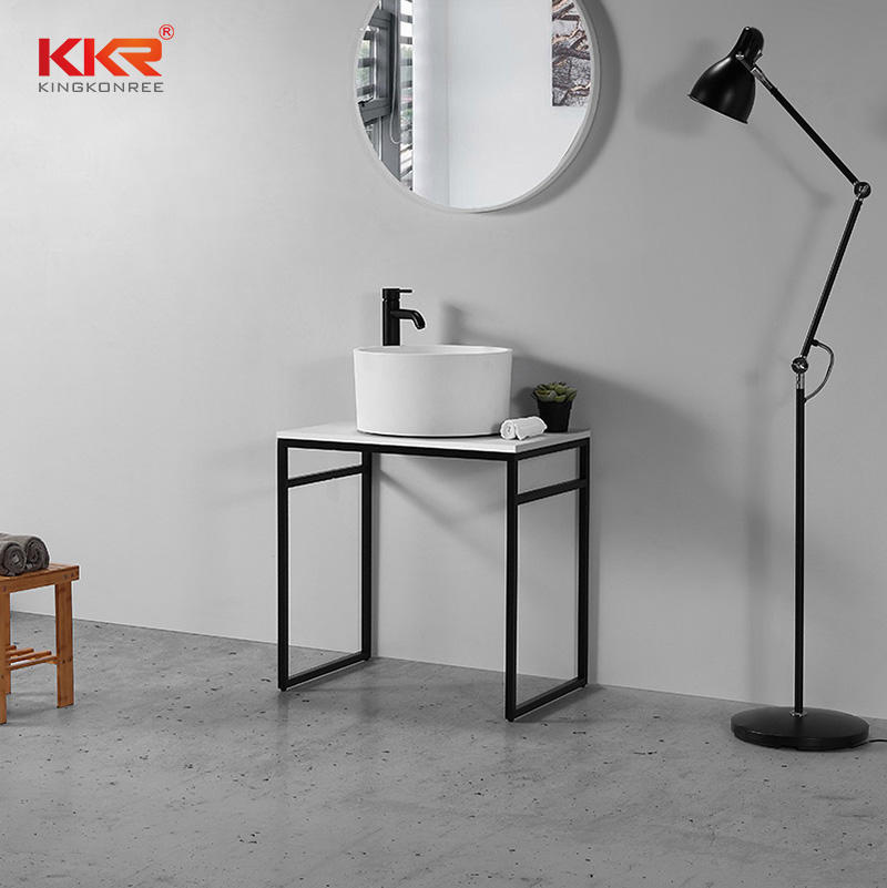 Artificial Marble White Acrylic Solid Surface Stone Above Counter Bathroom Wash Basin KKR-1156