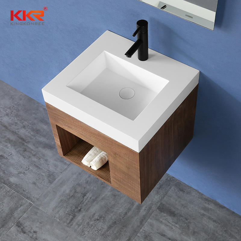 High-end Solid Surface Vanity Wash Basin With Customized Cabinet Set - Cabinet Basin KKR-XM447
