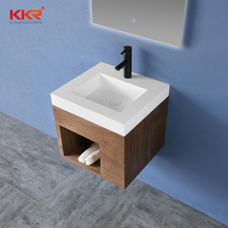 High-end Solid Surface Vanity Wash Basin With Customized Cabinet Set - Cabinet Basin 02