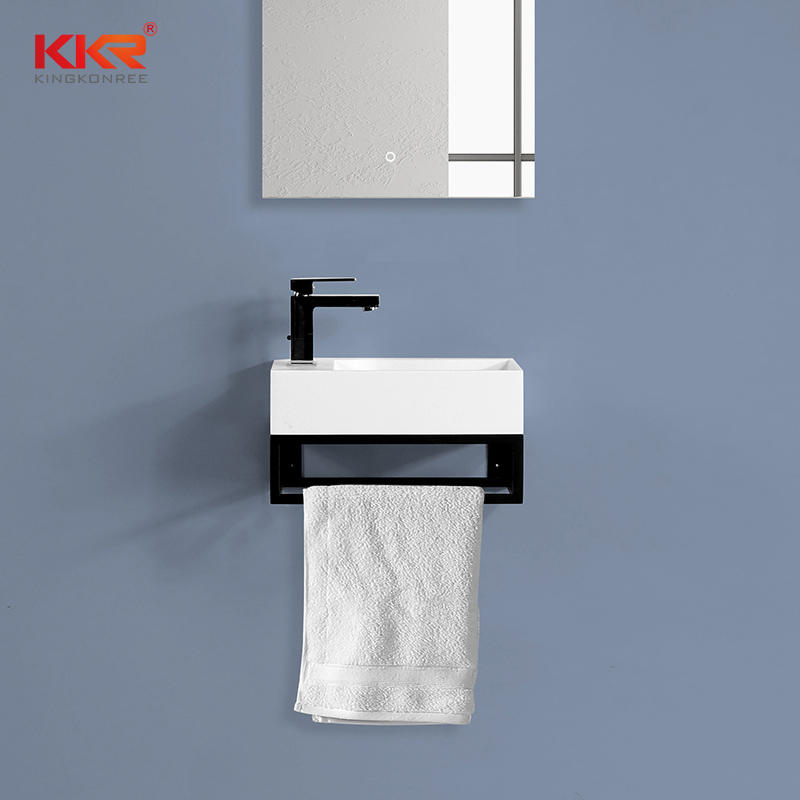 The Dutch Market Hot Selling Solid Surface Wall Huang Basin With Stainless Steel Shelf Rach KKR-1106