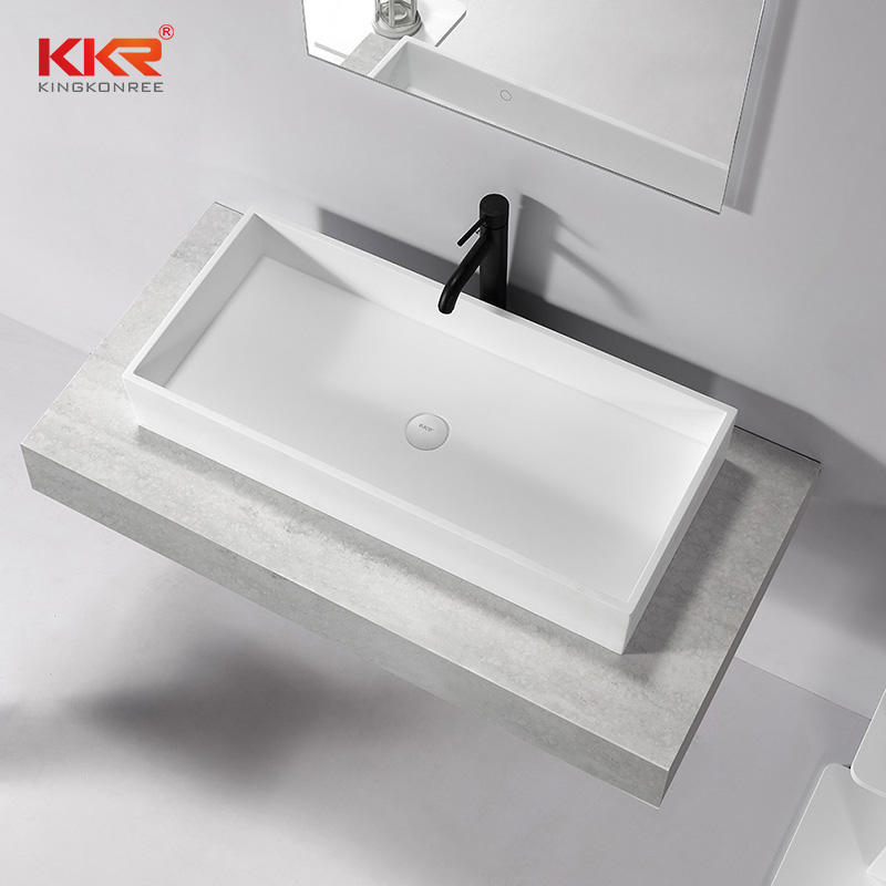 Rectangle White Marble Solid Surface Counter Top WashBasin KKR-1114