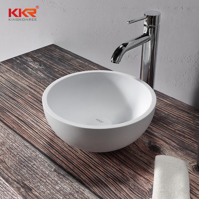 Hot Sale Small Round Solid Surface White Marble Hand Wash Basin KKR-1113