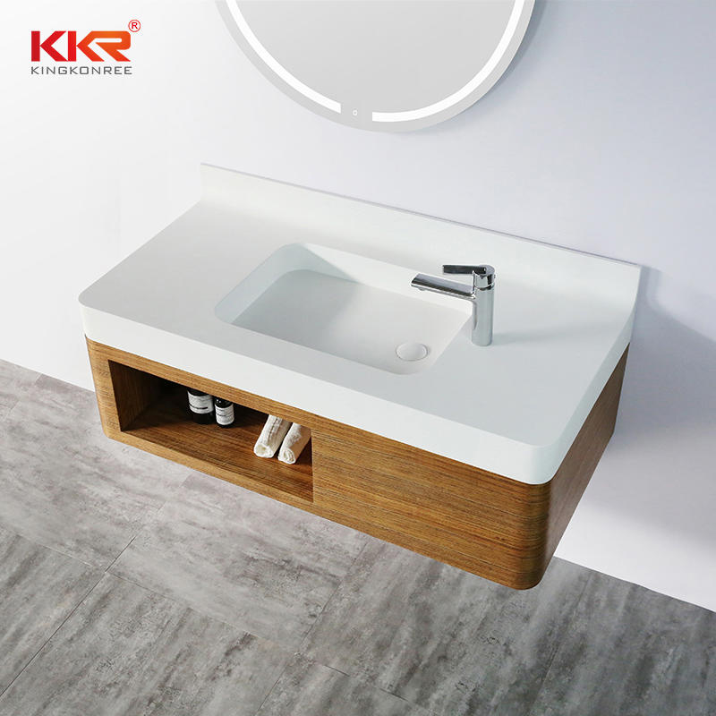 Hot Sales Acrylic Solid Surface Cabinet Basin Vanity Set for The US. Market KKR-XM1158