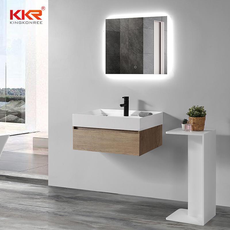 Newly Design Custom Acrylic Solid Surface Bathroom Cabinet Basin KKR-1801