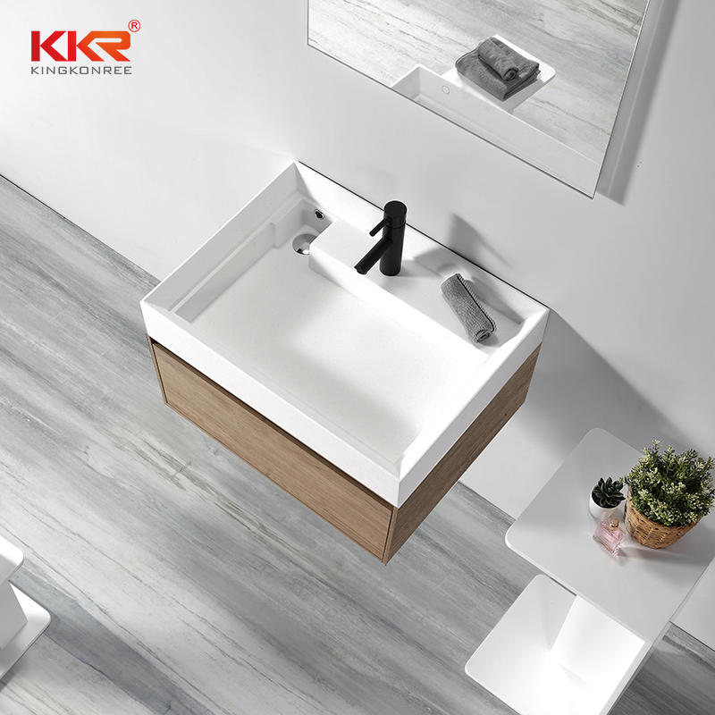 Newly Design Custom Acrylic Solid Surface Bathroom Cabinet Basin KKR-1801