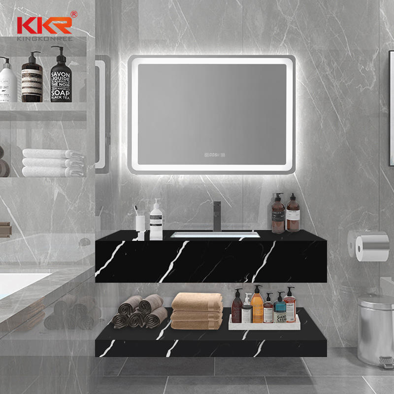 Black & White Texture Marble Pattern Solid Surface Stone Wash Basin KKR-M8832