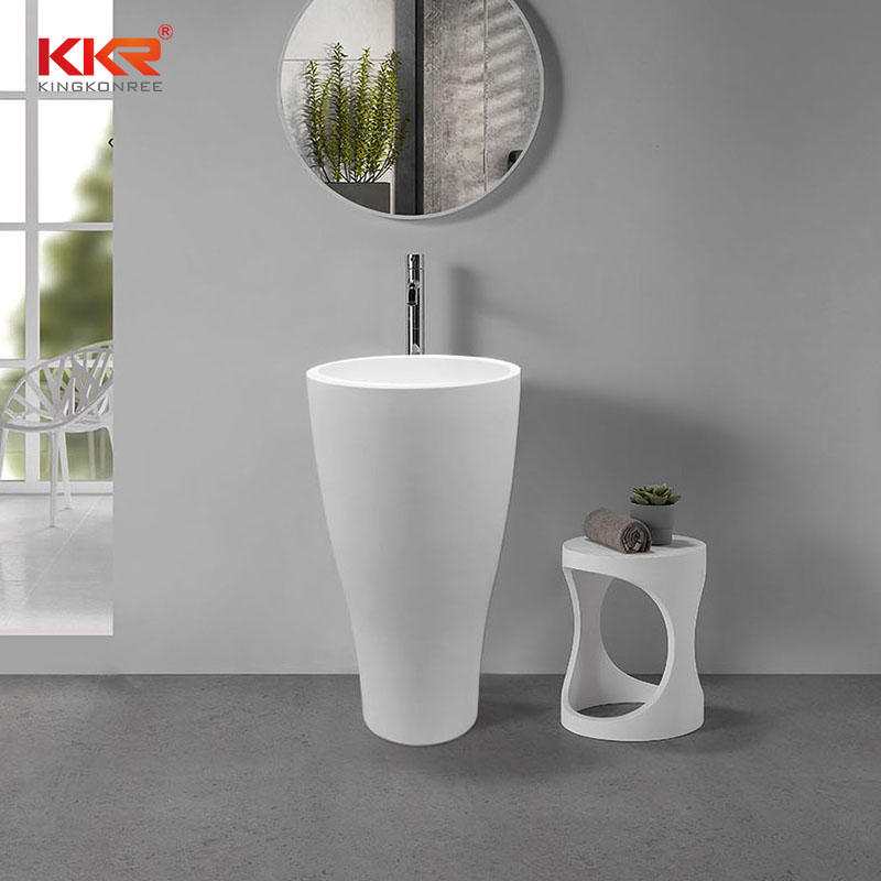 Hot Sales White Marble Solid Surface Resin Stone Freestanding Wash Basin KKR-1902