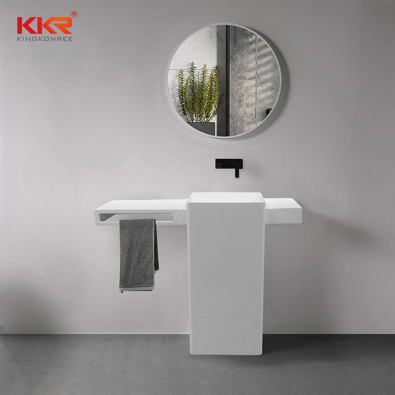 Unique Design Acrylic Solid Surface Freestanding Vanity Basin With Towel Hanger KKR-1901