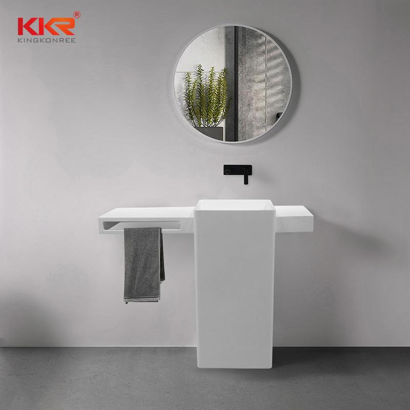 Unique Design Acrylic Solid Surface Freestanding Vanity Basin With Towel Hanger KKR-1901