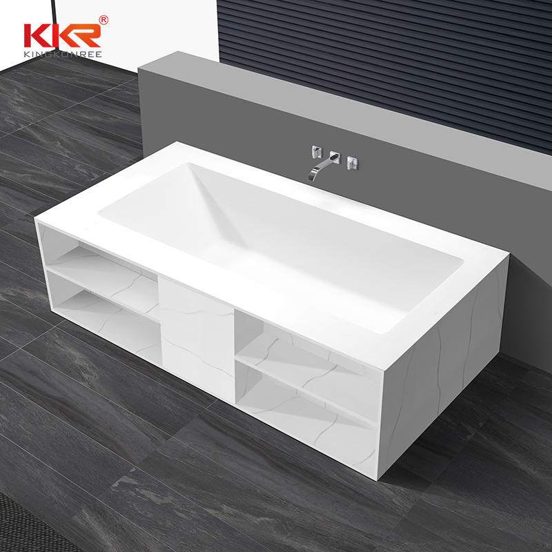 Customized Artificial Marble Solid Surface Freestanding Built-in Bathtub KKR-B069