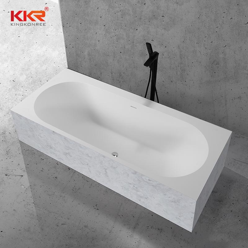 Texture Marble Pattern Skirt Solid Surface Freestandnig Built-in Soaking Bathtub KKR-B107