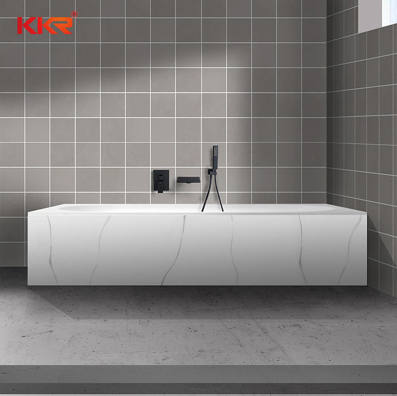 Texture Marble Pattern Skirt Solid Surface Freestandnig Built-in Soaking Bathtub KKR-B107