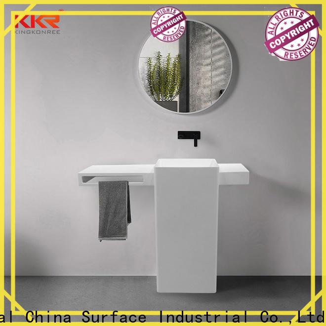 artificial pedestal wash basin factory price for bathroom