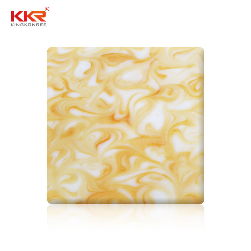 Yellow Pattern Translucent Solid Surface Sheet KKR-A105
