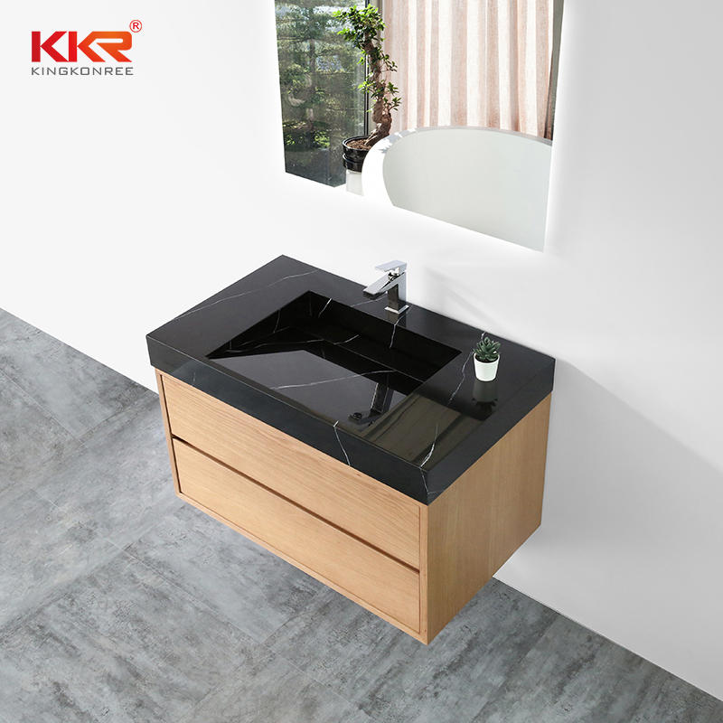 Black Marble Pattern Solid Surface Bathroom Wash Basin for 5 Stars Hotel Cabinet Basin 02