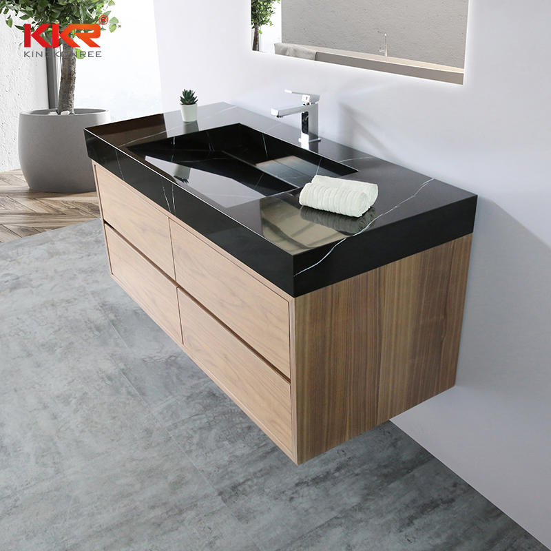 Wall Hung Wooden Cabinet with Black Marble Vanity Basin