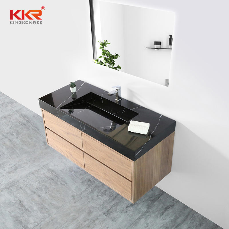 Black Marble Pattern Solid Surface Bathroom Wash Basin for 5 Stars Hotel Cabinet Basin