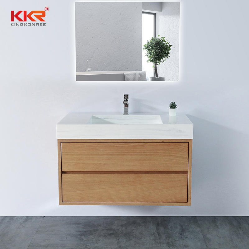 Wall Hang Wooden Vein Bathroom Vanity Cabinet KKR-CAB002