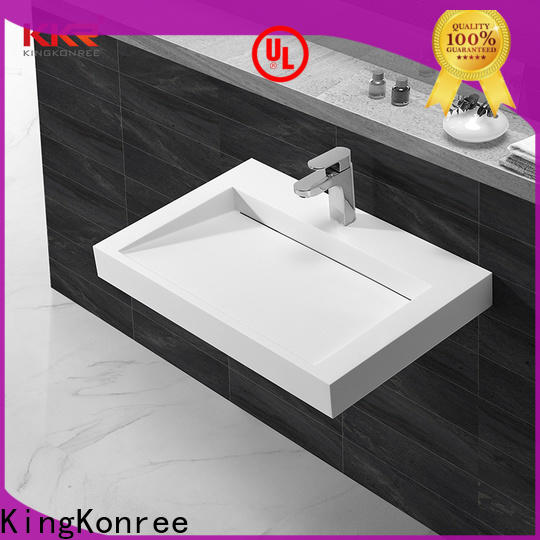 KingKonree solid wall hung bathroom basin sink for hotel