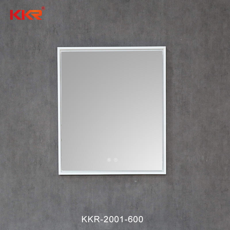 Customized Wall hung Backlit Led Bathroom Mirror with Solid Suface Frame