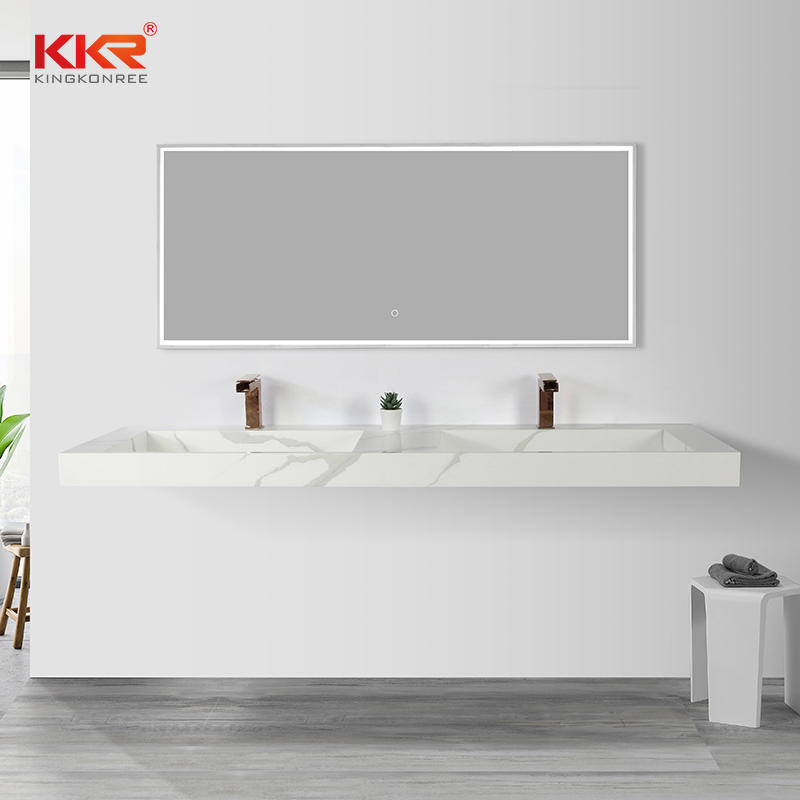 Modern Double Sink Bathroom Solid Surface Sink Artificial Stone Wall Hung Cabinet Basin KKR-M069