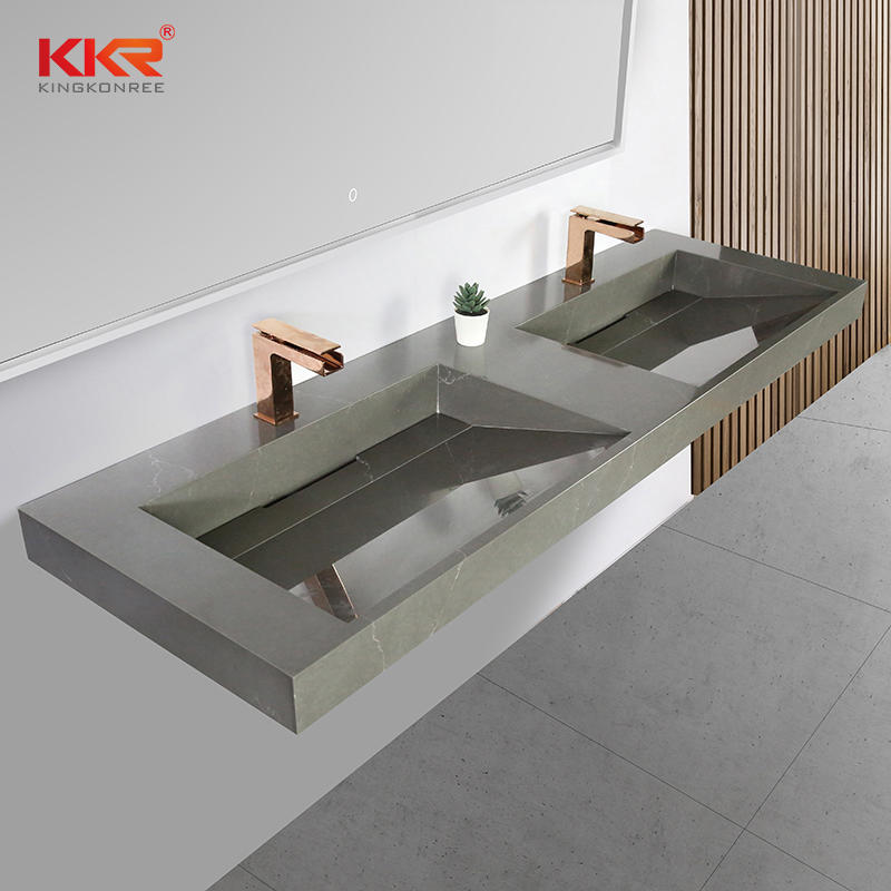 New Arrival Color Marble Pattern Wash Basin Acrylic Solid Surface Wall Hung Bathroom Basins KKR-M072
