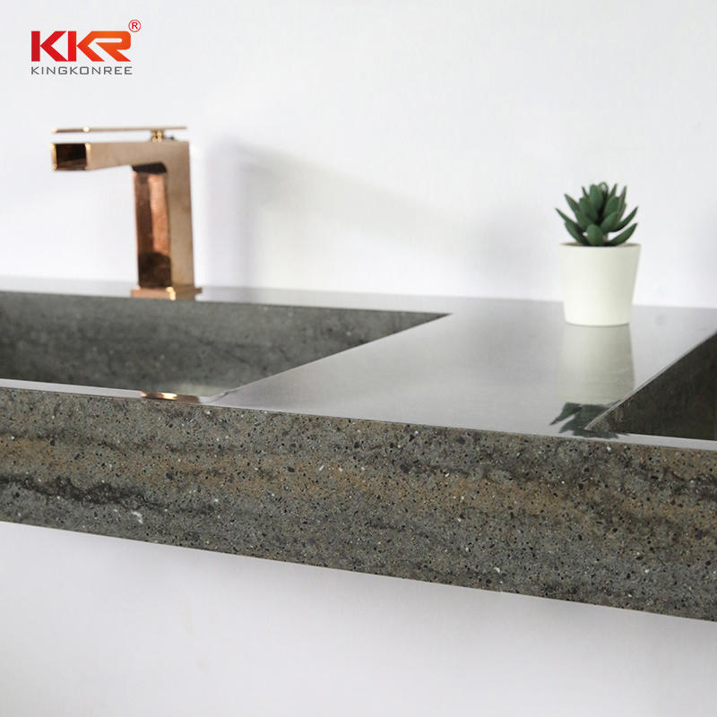Hot Sales Artificial Stone Marble-looking Solid Surface Bathroom Wall-hung Basin KKR-M8873