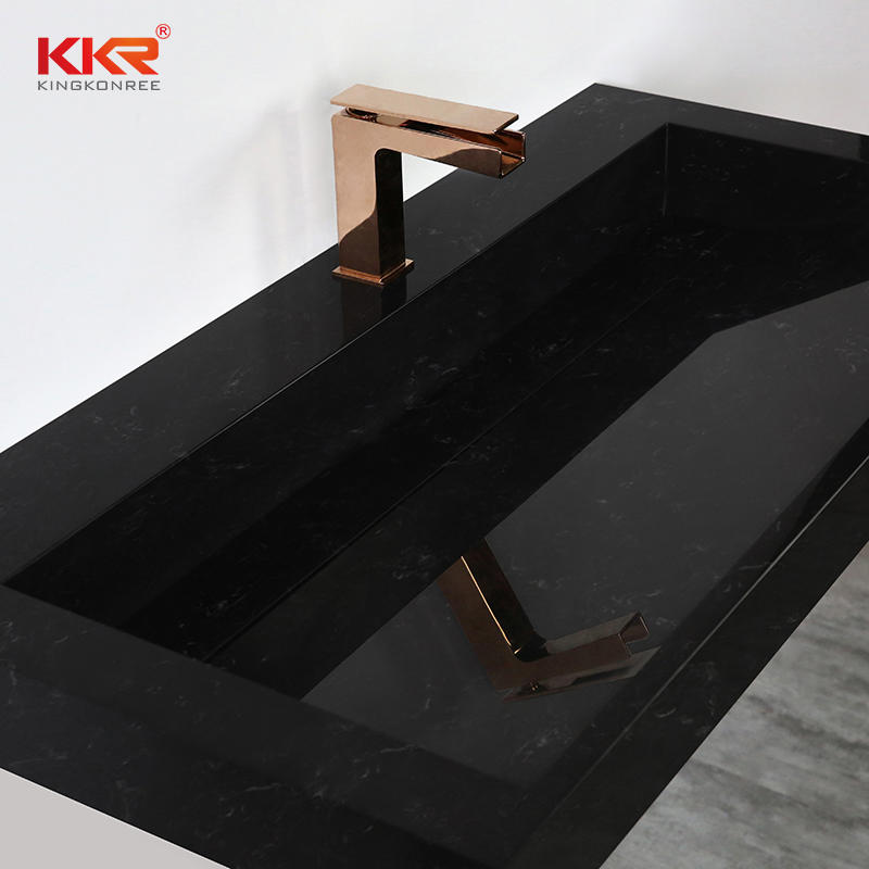 Black and white texture marble acrylic resin solid surface stone bathroom wall mounted basin sinks for 5 star hotel KKR-M7808