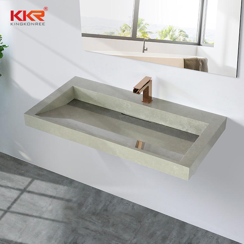 Marble-looking Stone Sink Bathroom Wall-hung Basin Solid Surface Wash Hand Basins Bathroom Cabinet Vanity Sink KKR-M8861