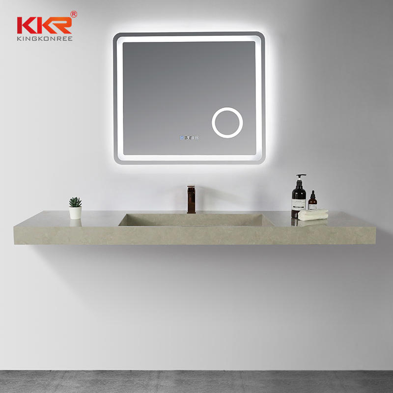 Dark Concrete Color Stone Sink Solid Surface Stone Basin Bathroom Wall-hung Sink KKR-M8861