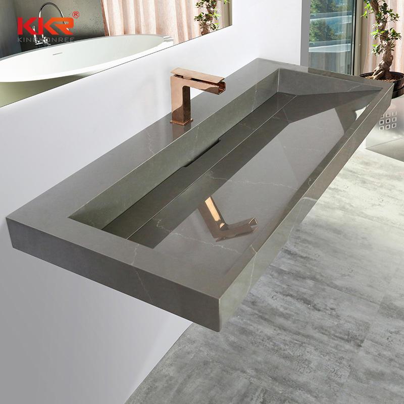 KKR Customized Acrylic Solid Surface Wash Basin Stone Bathroom Wall Hang Marble Color Wash Basins Sinks KKR-M072