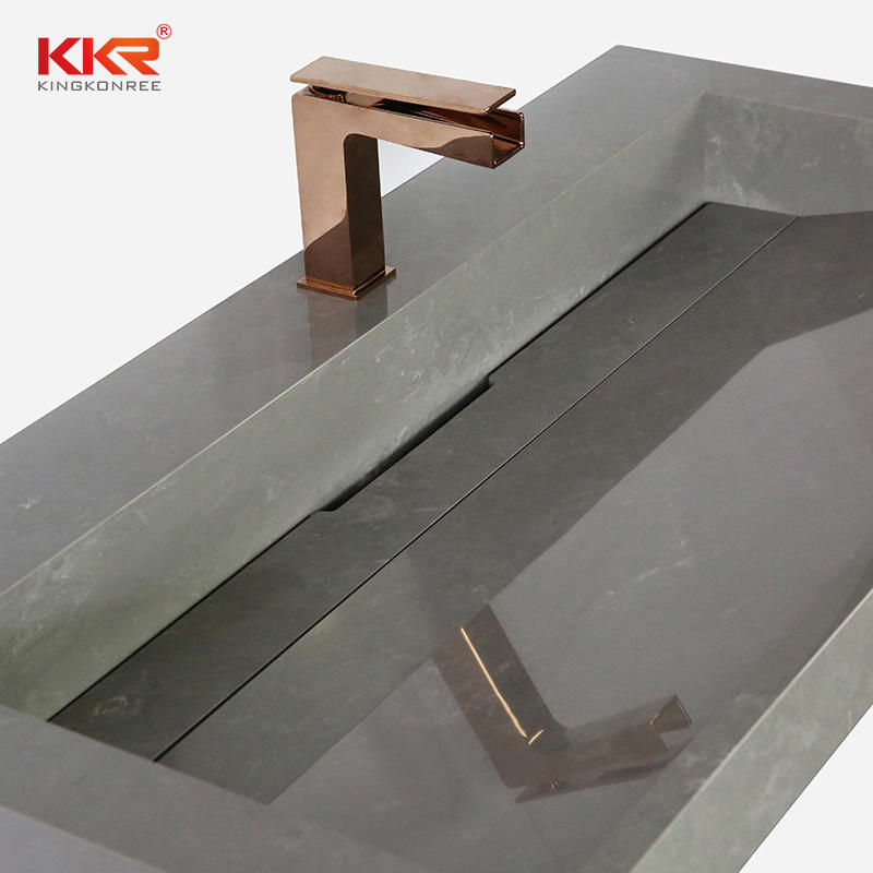 Fabricated Solid Surface Bathroom Vanity Sinks With Single or Double Sink Bowls KKR-M5807