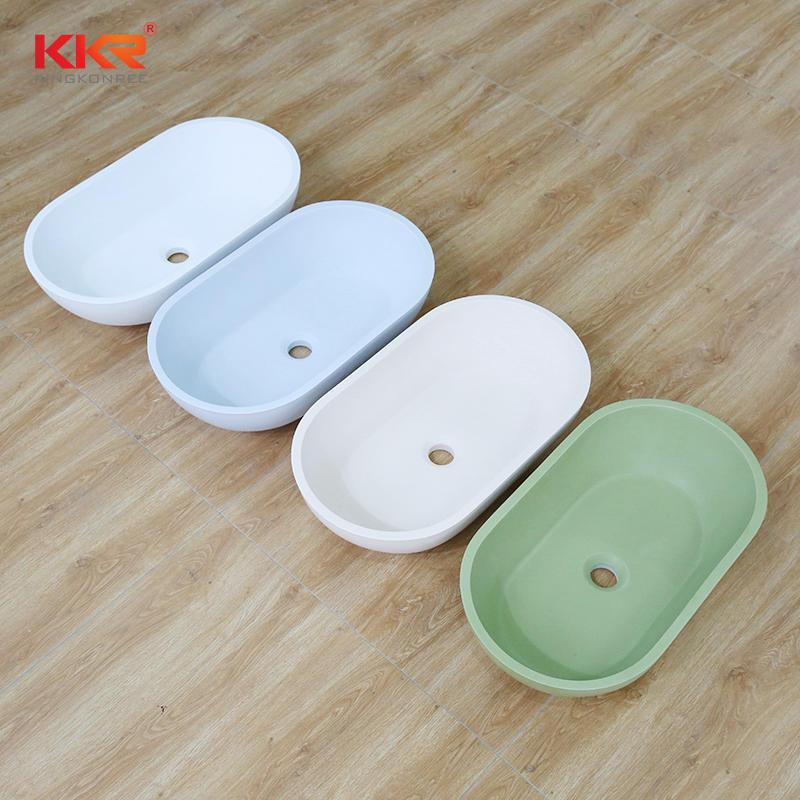 KKR Colorful Oval Shapte Design Above Countertop Bathroom Basin Solid Surface Stone Wash Basin KKR-1312